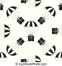 Gift box flying on parachute icon seamless pattern on white background. Delivery service, air shipping concept, bonus concept. Flat design. Vector Illustration