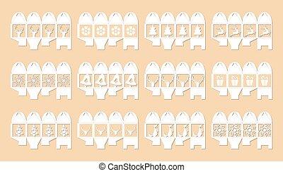 Gift box for christmas, set. illustration vector