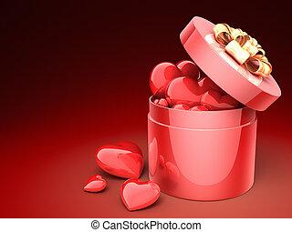 Gift box full of hearts