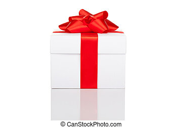 Gift box - gift box with red ribbon bow isolated over white...