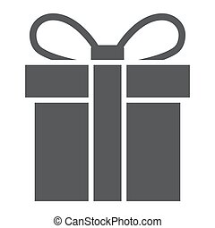 Gift box glyph icon, christmas and package, present sign, vector graphics, a solid pattern on a white background.
