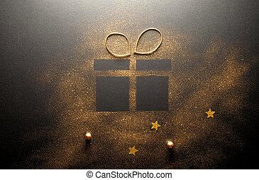 Gift box gold glitter