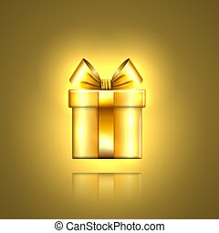 Gift box gold icon. Surprise present template, ribbon bow, isolated golden background. 3D design decoration for Christmas, New Year holiday, birthday celebration, Valentine Day. Vector illustration