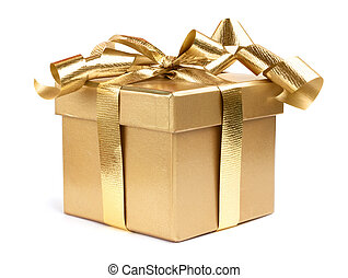 Gift box - Golden gift box decotated with ribbon isolated on...