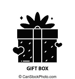 gift box icon, black vector sign with editable strokes, concept illustration