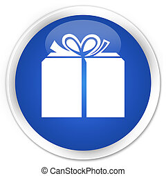 Gift box icon blue glossy round button