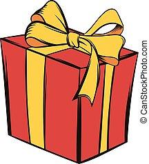 Gift box icon cartoon