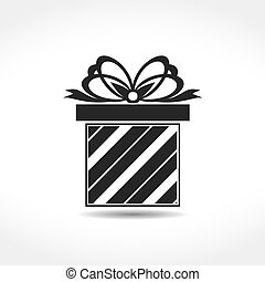 Gift Box Icon - Gift box with a bow icon, vector eps10 ...