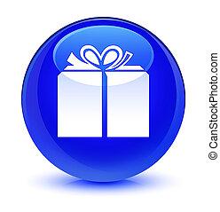 Gift box icon glassy blue round button