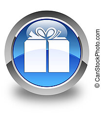 Gift box icon glossy blue round button