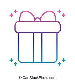 gift box icon, gradient line style