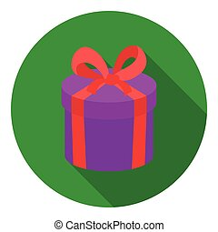 Gift box icon in flat style isolated on white background. E-commerce symbol stock vector illustration.