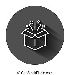 Gift box icon in flat style. Magic case vector illustration on black round background with long shadow. Present business concept.