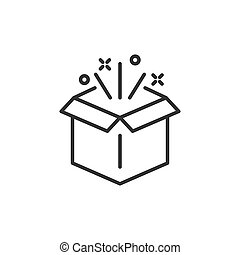 Gift box icon in flat style. Magic case vector illustration on white isolated background. Present business concept.