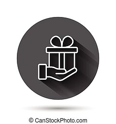 Gift box icon in flat style. Present on black round background with long shadow effect. Surprise circle button business concept.