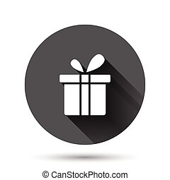 Gift box icon in flat style. Present package vector illustration on black round background with long shadow effect. Surprise circle button business concept.