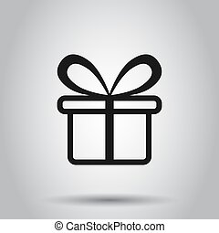 Gift box icon in flat style. Present package vector illustration on isolated background. Surprise business concept.