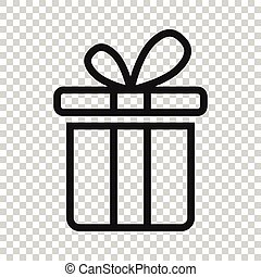 Gift box icon in flat style. Present package vector illustration on white isolated background. Surprise business concept.