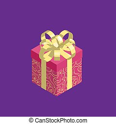 Gift box icon isolated on violet background.