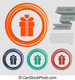 Gift box icon on the red, blue, green, orange buttons for your website and design with space text. Vector