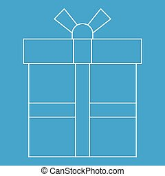 Gift box icon, outline style