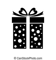 Gift box icon, present isolated on white.