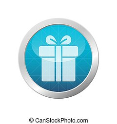 Gift Box Icon Present With Ribbon On Light Blue Shiny Circle Frame Vector Illustration