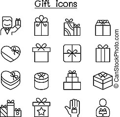 Gift box icon set in thin line style