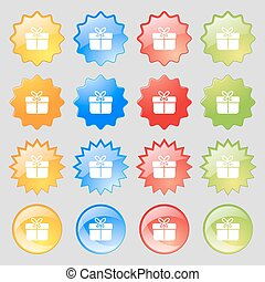 Gift box icon sign. Big set of 16 colorful modern buttons for your design. Vector
