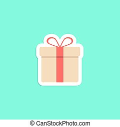 gift box icon sticker isolated on green background