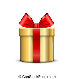 Gift box icon. Surprise present gold template, red ribbon bow, isolated white background. 3D design decoration for Christmas, New Year, birthday celebration, Valentine Day. Vector illustration