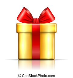 Gift box icon. Surprise present red-gold template, ribbon bow, isolated white background. 3D design decoration for Christmas, New Year, birthday celebration, Valentine Day. Vector illustration