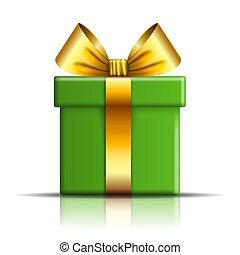 Gift box icon. Surprise present template, gold ribbon bow, isolated white background. 3D design decoration for Christmas, New Year, birthday celebration, Valentine Day. Vector illustration