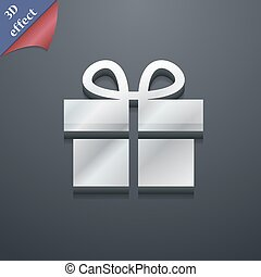 Gift box icon symbol. 3D style. Trendy, modern design with space for your text Vector
