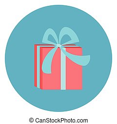 Gift Box Icon Web Button On Round Blue Background