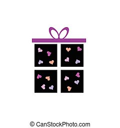 gift box icon with heart illustration