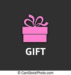 Gift box icon with ribbon, flat design
