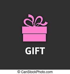 Gift box icon with ribbon, flat design