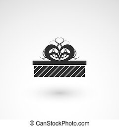 Gift box icon with ribbon, wrapping pattern design