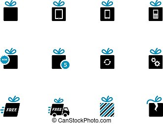 Gift box icons, holiday presents.