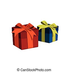 Gift box in a cartoon style. Red and blue gift isolated on white background