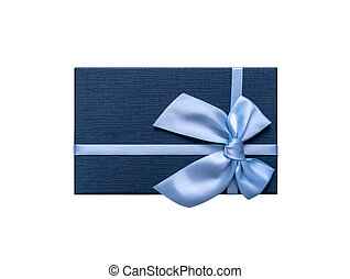 Gift box in blue isolated on white background.