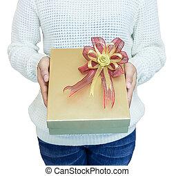 gift box in hand girls