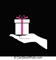 gift box in hand vector on black