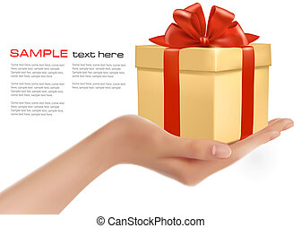 Gift box in hand with red bow and ribbons  vector