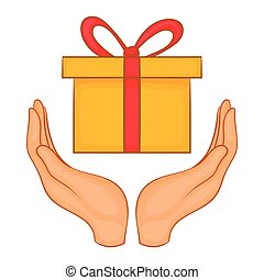 Gift box in hands icon, cartoon style