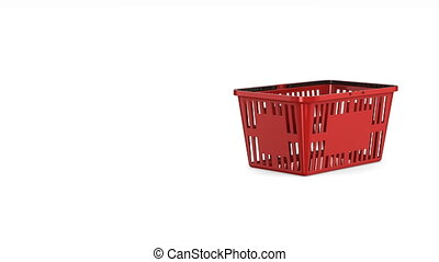 gift box in red shopping basket on white background. Isolated 3d render