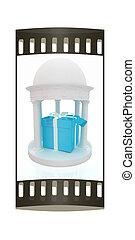 Gift box in rotunda. The film strip