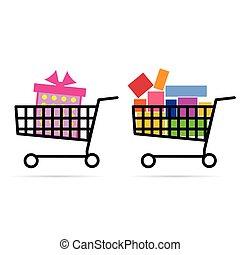 gift box in shopping basket illustration