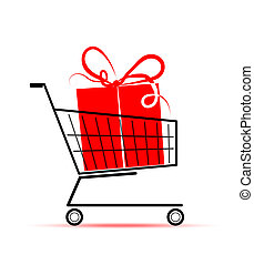 Gift box in shopping cart for your design